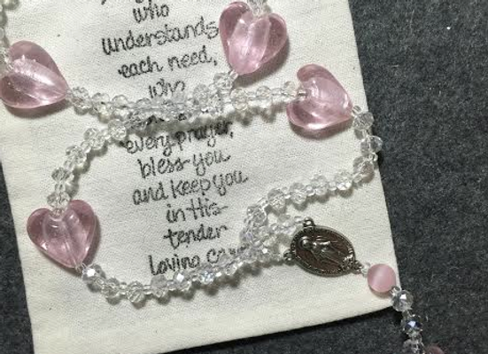 Personalized Rosary Beads (crystal/Pink hearts)