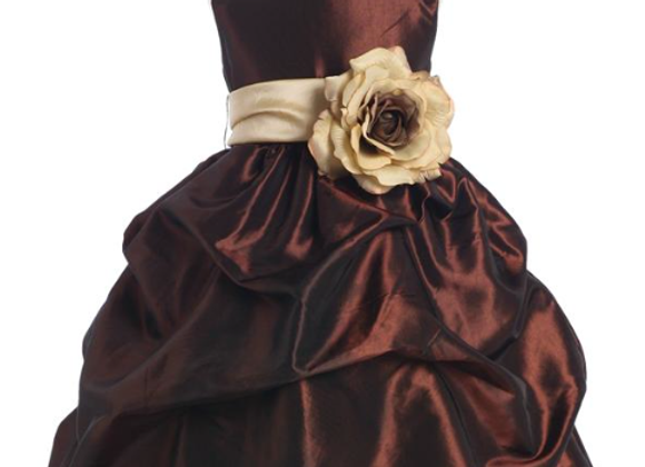 Gathered Taffetta dress - Chocolate