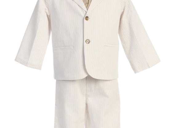 Boys Striped seersucker suit -3775 Khaki