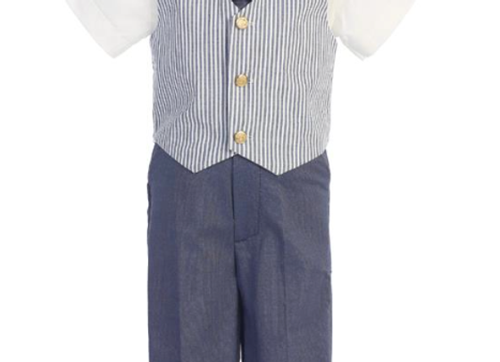 Seersucker vest and pant set - G824 blue