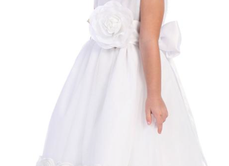 Tulle with floral ribbon Flower Girl Dress