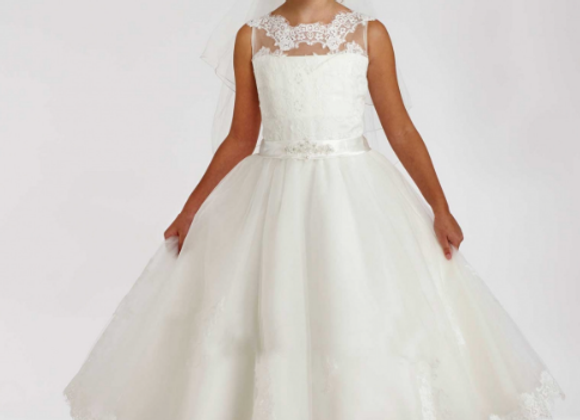 COMMUNION DRESS T1851B Diamond white