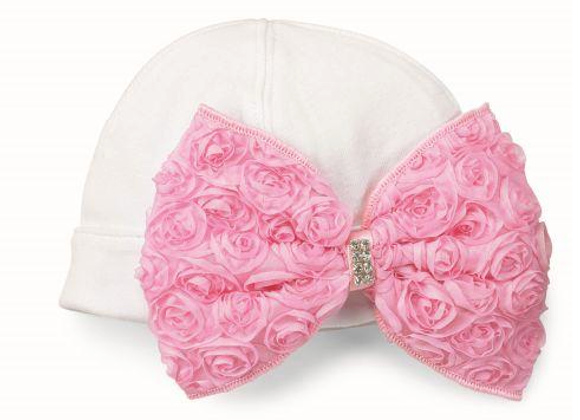 Rosette Bow Hat - new born