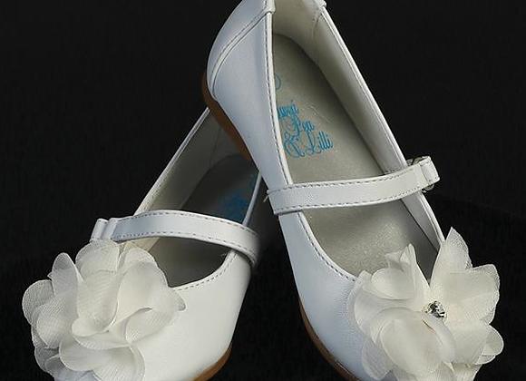 Flower Girl Shoe - Flower&Rhinestones-infant white