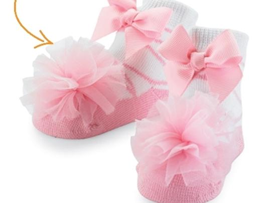 Tulle Puff Socks - pink