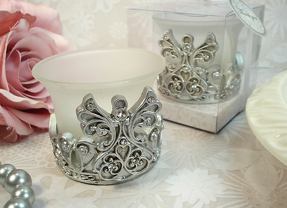 4342 - Antique Silver design angel tealight candle