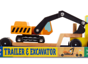 MELISSA & DOUG -Trailer & Excavator Wooden Vehicle