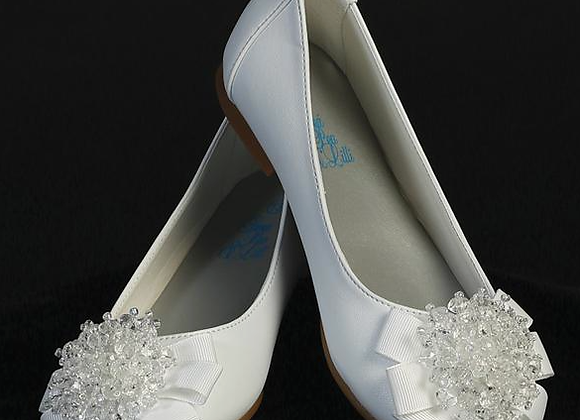 Flower Girl beads & bow shoe - big girls - white
