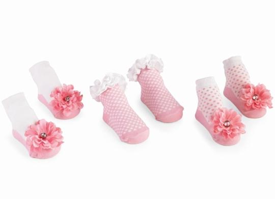 Pink Buds S/3 Socks