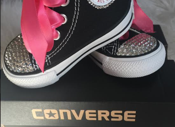 GIRLS CONVERSE - BLING/PINK RIBBON