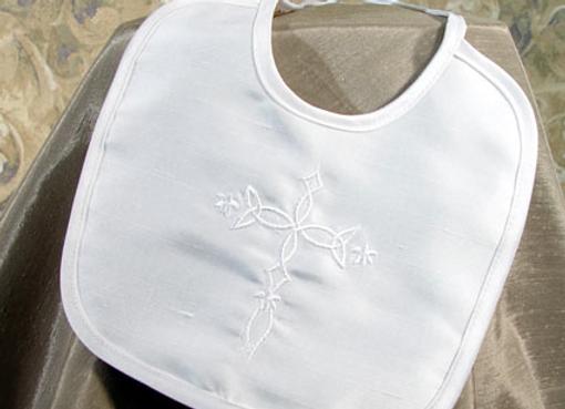 Silk Dupioni Bib with Embroidered Cross- 3DPBIBC