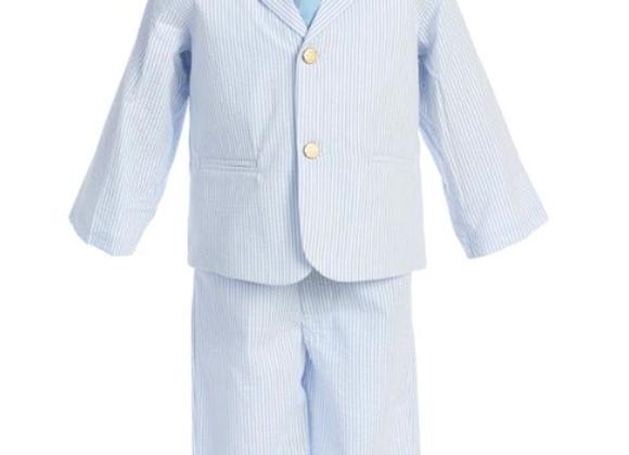 Boy striped seersucker suit - 3775 blue