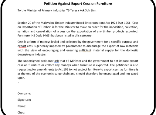 Petition against Export Cess on Furniture