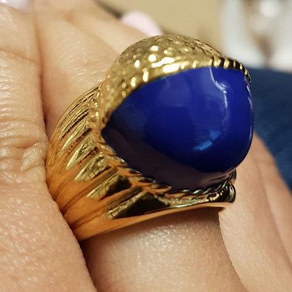 """Anillo Dorado y Azul """"Paris Nouvelle"""" Inspirado en Cartier"""