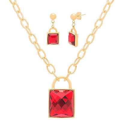 Set Dorado y Rojo Inspirado en Chanel