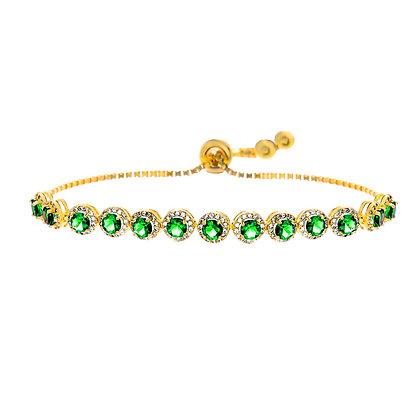 Brazalete Dorado y Cristales Verde