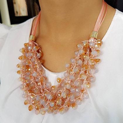 Set Multilayer Dorado y Cristales Rosados