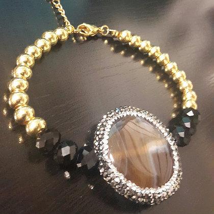 Brazalete Dorado, Druzy y Piedra Semi-Preciosa