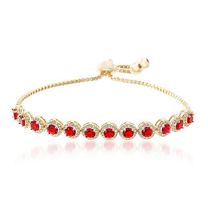 Brazalete Dorado y Cristales Rojas
