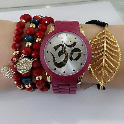 """Reloj """"Om Mandala"""" Fortune NYC Rojo Vino"""