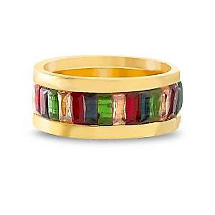 Anillo Dorado y Cristales Multicolor