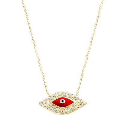 """Cadena Dorada """"Evil Eye"""" Rojo"""