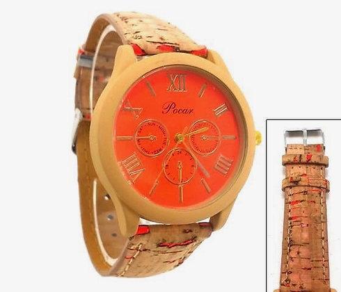 """Reloj """"Corcho"""" Pocar Naranja"""