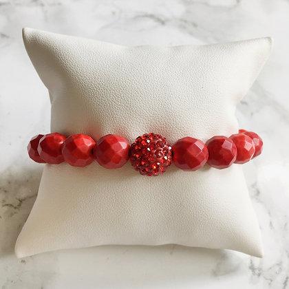 Brazalete Piedras y Cristales Rojos