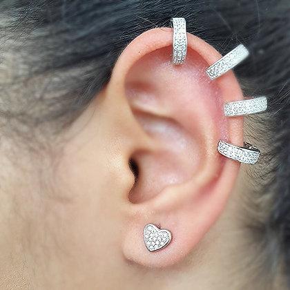 Aretes Plateados y Circonias Tipo Ear Cuff