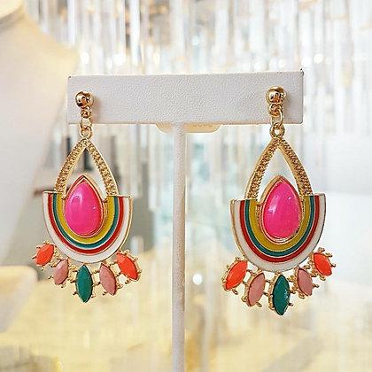 Aretes Dorado y Multicolor
