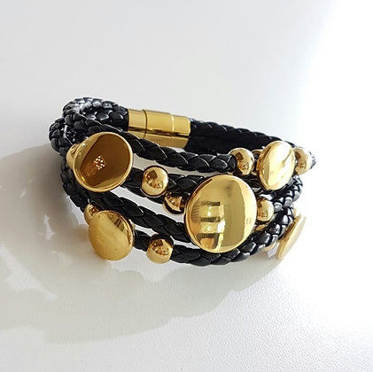 Brazalete Multilayer Negro y Dorado