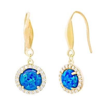 Aretes Dorados y Ópalo Azul