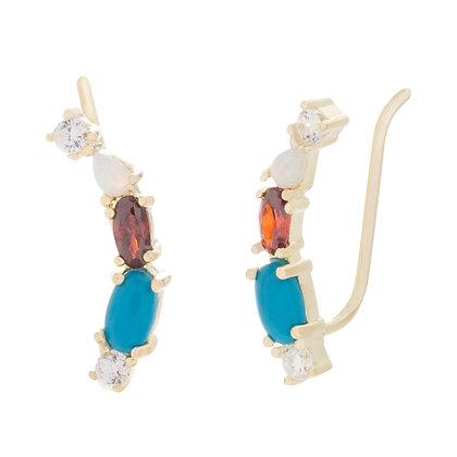 Aretes Dorados Multicolor Tipo Ear Cuff
