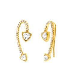Aretes Dorados y Circonias Tipo Ear Cuff