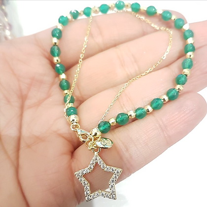 "Brazalete Dorado ""Star"" y Cristales Verde"
