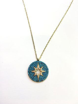 Cadena Dorada y Estrella (Star) Turquesa