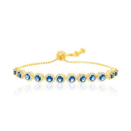 Brazalete Dorado y Cristales Azules