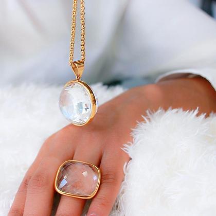 Combinación Cadena y Anillo Cristal Clear
