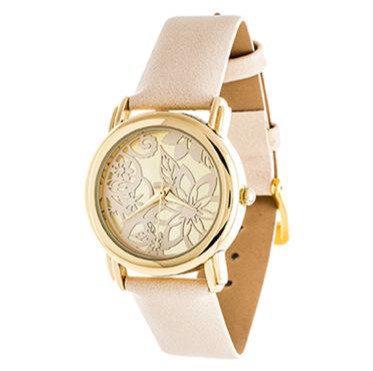 """Reloj """"Floral"""" Dorado y Crema"""