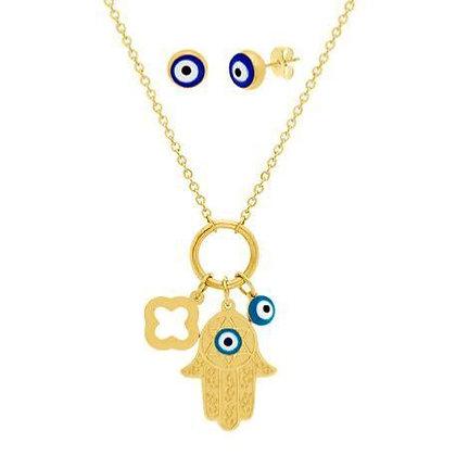 "Set Dorado ""Evil Eye"" Azul y Hamsa"