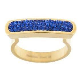 Anillo Dorado y Cristal Azul