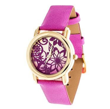 """Reloj """"Floral"""" Dorado y Rosado"""