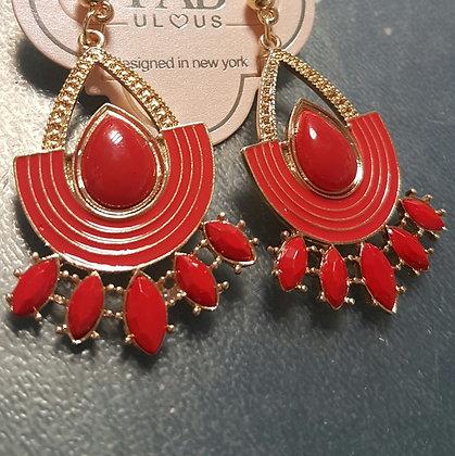Aretes Dorado y Rojo