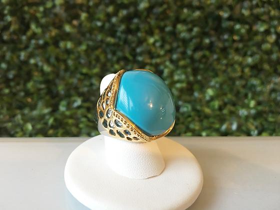 Anillo Dorado Piedra Azul Turquesa