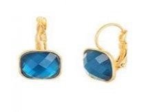 Aretes Dorado y Cristal Azul