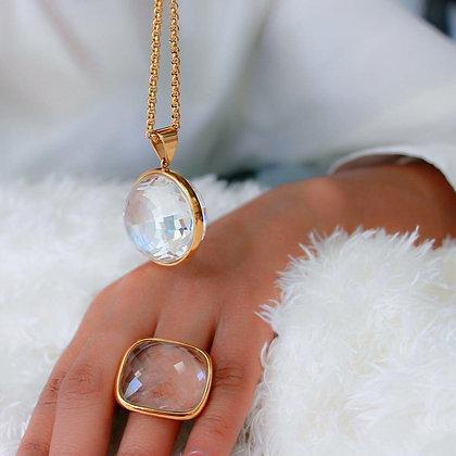 Set Dorado y Cristales Clear