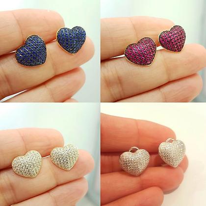 Aretes Corazón y Circonias