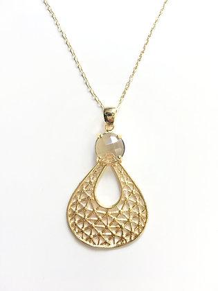 Cadena Dorada y Cristal Clear Oro Laminado