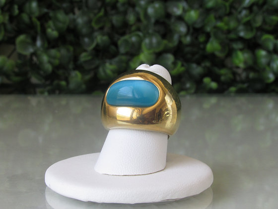 Anillo Dorado y Piedra Turquesa