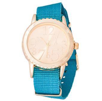 """Reloj """"Belt"""" Dorado y Turquesa"""